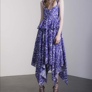 Prabal Gurung Purple Eyelet Print Dress Size 8 NWT